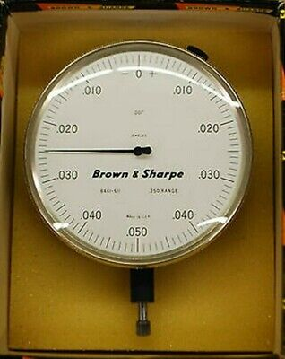 ".025 Range"" Dial Indicator 0.001"" Jeweled Brown & Sharpe Gold and White"