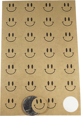 Happy Face Circle Stickers, 0.75 Inch Round, 280 Stickers Total, 7 Color Choices
