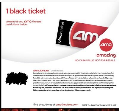 INSTANT DELIVERY.  4 AMC Black Movie Tickets. (Any State, Any movie ), NO EXP.