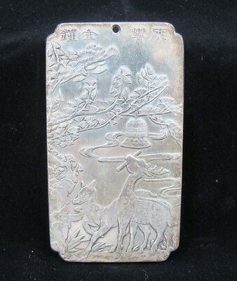 Collectable Handmade Carved Statue Tibet Silver Amulet Pendant Deer