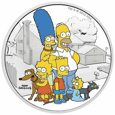 2019 Tuvalu The Simpsons Family $2 Two Dollar Silver Proof 2oz Coin Box Coa