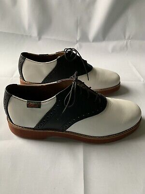 G.H. Bass Mens Black & White Leather Saddle Oxfords~Sz 8 M