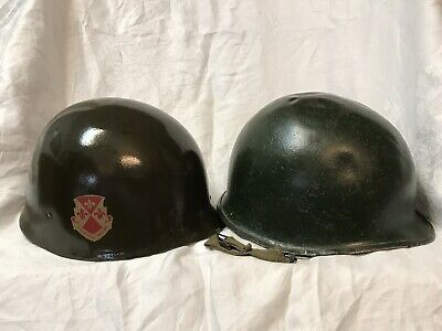 FRONT SEAM swivel bale WW2 WWII US Army M1 Steel Helmet And Liner 104th Division