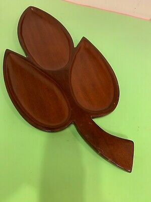 Vintage Handcrafted Solid Mahogany Hand Made Leaf Shape Divided Tray Bowl Haiti
