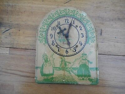 Vintage Animated Tin Electric Windmill Wall Clock w/ Dutch Boy & Girl