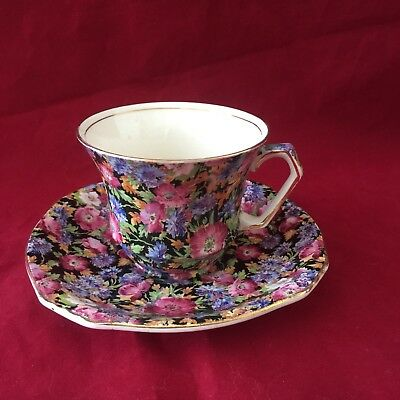 """Vintage Royal Winton Chintz Grimwades """"majestic"""" Pattern Cup & Saucer Wire Stand"""