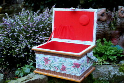 French Vintage Medium Handmade Jewelry/Sewing  Box - wooden/ Fabric box