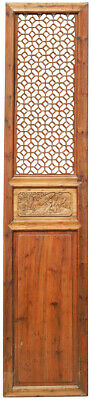 Single Antique Chinese Tall Lattice Wooden Screen Door with Honey Comb Pattern