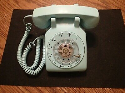 Vintage Western Electric Aqua BLUE Rotary Dial Desk Phone Bell System 500 WORKS