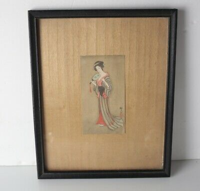Antique Japanese Gouache painting, Geisha, signed and seal lower right.