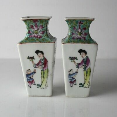 Pair of Chinese Famille Rose Porcelain figural Vases, hand painted, c1920
