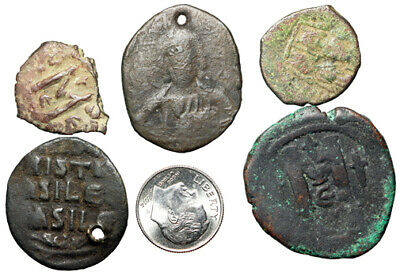 GROUP LOT OF 5 Byzantine Empire Bronze Coins 19-32mm Several Large Christ Folles