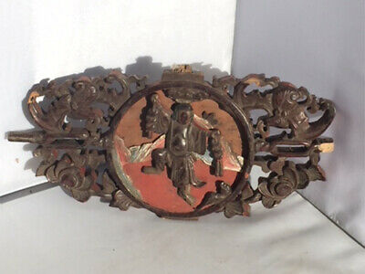 Antique Chinese Carved Fragment from Furniture Liu Hai Teasing Pet Toad w Coin