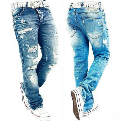 Mode Homme Jean Déchiré Super Skinny Slim Fit Pantalon Jeans Destroy  Pantalon