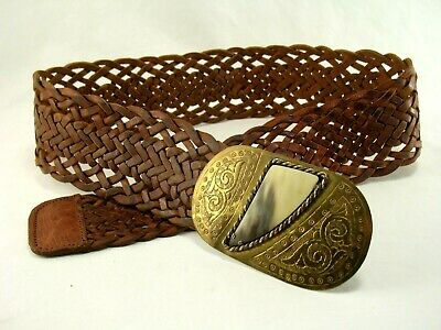 Vintage Chico's Braided Leather Belt with Brass and Bone Buckle 35 inch
