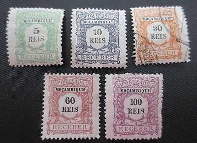 Mozambique 1904 Postage Due Stamps SC #J1,2,4& 6-7 MHNG/UH Portugal Colony