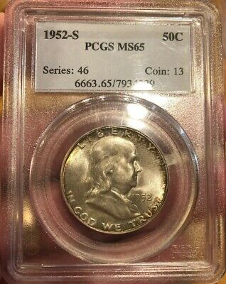 1952-S Franklin Half Dollar  Pcgs Ms65