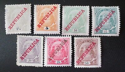 Mozambique Company 1911 MH/MHNG Overprinted Stamps SC #75b-81 Portugal Colony
