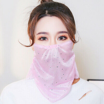 Ladies Summer Sunscreen Face Masks Girls Outdoor Protection Breathable Veil AT