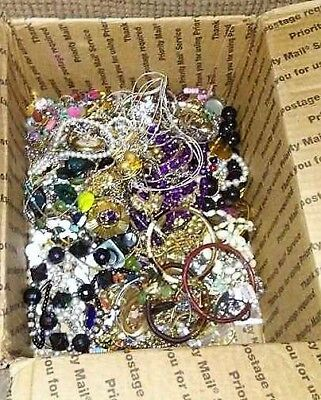 Vintage - Now Jewelry Huge Lot 8+ Lbs Med Flat Rate FULL Harvest Wear Craft Junk