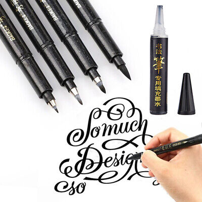 Black Pens Hand Writing Ink Brush Calligraphy Drawing Marker Pen 4 Sizes Office