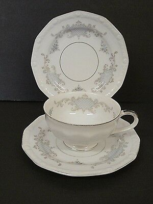 Harmony House Monique Fine China 1 Footed Cup 2 Bread & Butter Plates--Lot of 3!