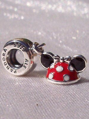 Authentic Pandora Sterling Silver S925 ALE Disney Minnie Ear Hat Dangle Charm