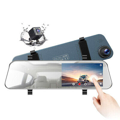 """5"""" LCD Rear View Front Mirror Dash Cam Waterproof Reverse Car Backup FHD Camera"""
