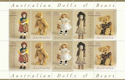 1997 Australian Dolls and Bears series 10 x 45c Minisheet / Sheetlet Mint MNH