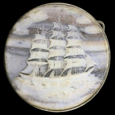 Vtg Clipper Schooner Galleon Sailing Ship Pirate Wanderlust Ocean Belt Buckle