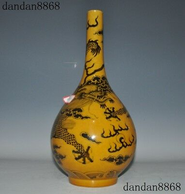 Marked old Chinese dynasty yellow glaze porcelain Dragon Zun Bottle Pot Vase Jar