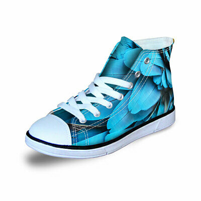 Canvas Sneakers Casual Kids Shoes High Top Girls Boys Lace Up Comfy Feather