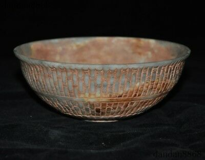 Chinese natural Old Hetian jade Carved dynasty palace Tea Cup Bowl Bowls statue