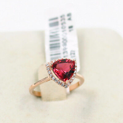 Red Ruby Triangle Rose Gold 4.75 ct simulated diamond Ring size 8