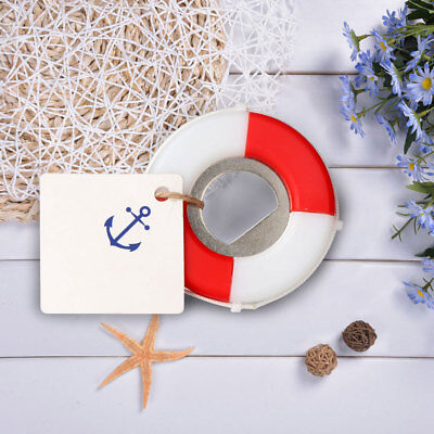 50×Nautical Baby Shower Favors Gifts Life Saver Bottle Opener + Logo Tag Card