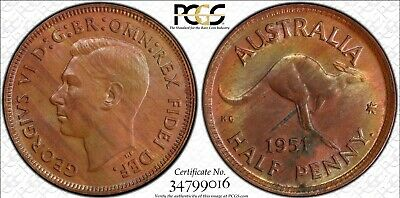 1951(p) Half Penny PCGS Graded MS64RB Coin with Dot and Obverse Type 5