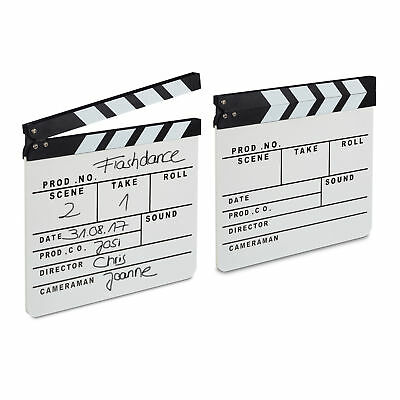 2 x Clapperboard White TV Hollywood Film Directors Clapper Movie Clapboard Slate