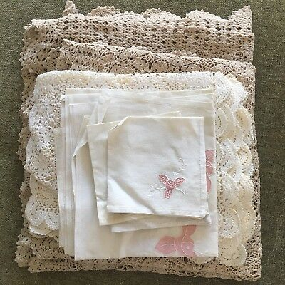 Vintage Lace & Embroidered Tablecloths And Napkins