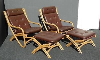 Pair Vintage Mid Century Bamboo Rattan Bentwood Recline Chairs w Ottomans