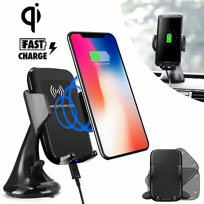 Fast Qi Wireless Car Charger Mount Holder for Samsung S8 S9 Plus iPhone 8/X/XS