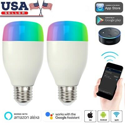 2-pk Smart Wi-Fi LED Color Changing Dimmable 6W Light Bulb For Amazon Alex White