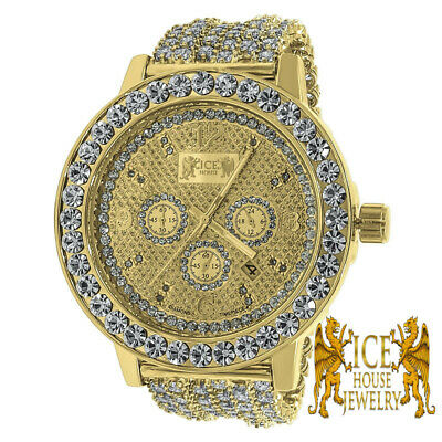 "Yellow Gold Tone Men""s Solitaire Bezel Real Diamonds Iced Out Custom Band Watch"