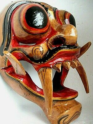 Old authentic BALI Indonesia BARONG ritual MASK hand painted on carved wood