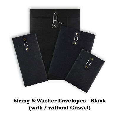 Quality String & Washer Strong Bottom Tie Envelopes Mailer All Sizes in Black