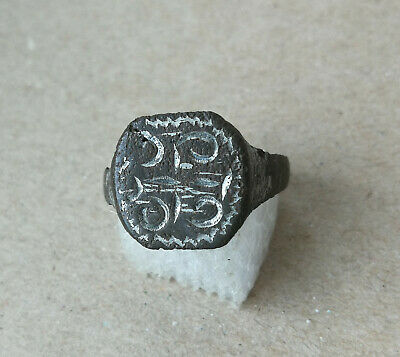 Ancient Viking Old Silvered Bronze FABULOUS STATUS Ring Runic Ornament VERY RARE