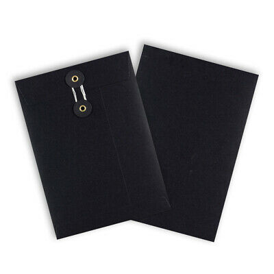 Quality String & Washer Strong Bottom&Tie Without Gusset Envelopes Black - C5