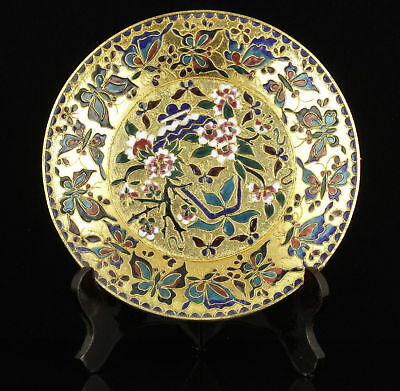 China Old Handwork Painting Exquisite Peony flower Cloisonne Decoration Plate