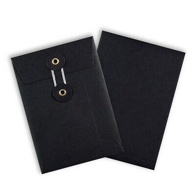 Quality String & Washer Strong Bottom&Tie Without Gusset Envelopes Black - C6