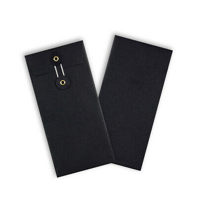 Black Color String & Washer DL - 220x110 mm Bottom&Tie W/O Gusset Envelopes