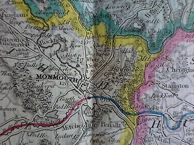 Superb very early map of Brecon Monmouth Chepstow area Cruchley
